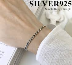 楽天市場シルバー925 シンプル 編み込み バングル 編み デザイン