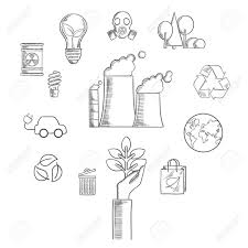 Environment and ecological conservation sketched icons with