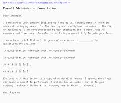 Payroll Administrator Cover Letter Payroll Administrator Cover Letter Job Application Letter