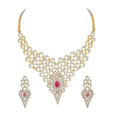 youbella american diamond gold plated necklace