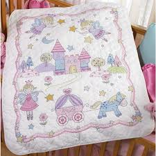Weekend Kits Blog: New! Cross Stitch Baby Quilts & Birth Record Kits & The Princess Baby Quilt Kit is a delightful princess-themed stamped cross  stitch kit from Bucilla. Adamdwight.com