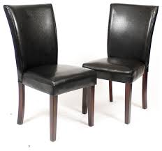 pau black leatherette parsons chairs with cherry finish wood legs set of 2