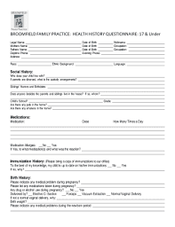medical health history form family health history questionnaire edit fill print download