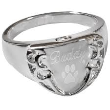 pet cremation jewelry men s engravable shield ring shown end