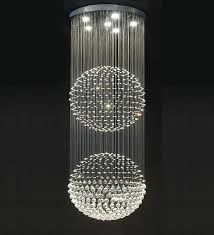 stairwell lighting. double floating crystal ball chandelier stairwell lighting