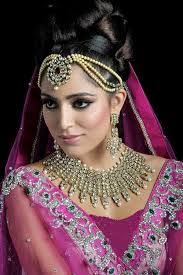 the eye makeup of the bride is sharp is sharp and have good look of eye liner this bridal makeup is mostly used in bridal wedding ceremony