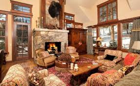 Country Decor For Kitchen Rustic Country Decor Idea With Stone Fireplace Across Colonial