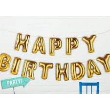 Happy Birthday Balloons Banner Gold Happy Birthday Foil Balloon Party Banner Pipii