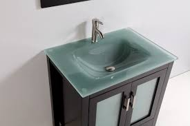 tempered glass top  single sink bathroom vanity with mirror and