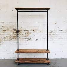 Wardrobe Racks, Rolling Clothes Rack Rolling Clothes Rack Walmart  Industrial Garment Rack With Wooden Shelves ...