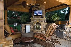outdoor kitchen with tv over fireplace