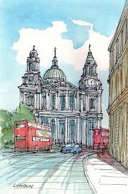 london st paul s cathedral art print from an original watercolor painting
