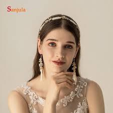 Superbes Perles Avec étoiles En Or Décoration De Coiffure Mariée Mariage Bandeau Accessoires Cheveux Boucles Doreilles Bijoux H277