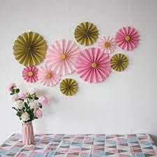 Paper Flower Decor Mybbshower Pink Gold Hanging Paper Flowers Decor Kit For Girls Birthda