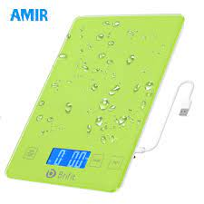 AMIR Food Weighing Scale, 10 kilo/kg Digital Kitchen Scale, USB  Rechargeable High Accuracy Multi-Function Scale for Cooking Baking