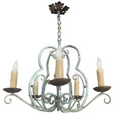 antique country french painted hand forged wrought iron chandelier for