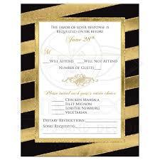 Bold Striped Wedding Rsvp Card Simulated Gold Foil Glitter Black White Gold Ornate Scroll