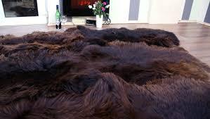 brown to genuine sheepskin rug carpet