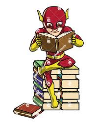 a book lover superhero reading while seated on a pile of books