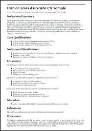 Sale Associate Resume Sample Fashion Sales Associate Sample Retail