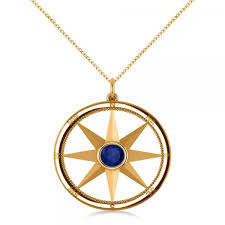 blue sapphire compass pendant fashion necklace 14k yellow gold 0 66ct