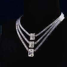 jahan emerald cut white diamond necklace