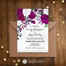 Purple Wedding Invitations Printable Floral Wedding Invitation Rustic Wedding Invites Template Editable Vintage Watercolor Rose Download