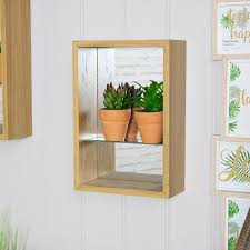 details about natural wood wall mounted shelving unit mirrored back glass shelf display stand