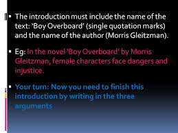 introduction to extended text response structure planning ppt the introduction must include the of the text boy overboard single