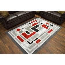 5 x 6 rug. RIMA Modern Contemporary Abstract Carpet 5x7 Rug 4890 Grey-Red 5 X 6 E