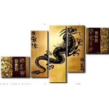handpainted 5 piece modern abstract oil paintings on canvas wall art chinese dragon animals pictures for home decoration craft in painting calligraphy  on chinese dragon metal wall art with handpainted 5 piece modern abstract oil paintings on canvas wall art