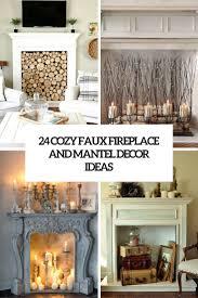 24 cozy faux fireplace and mantel decor ideas