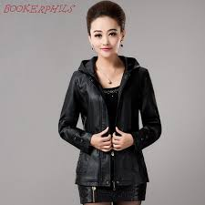 2017 new spring womens hooded leather jackets las slim sheepskin leather coat plus size female clothing outerwear fashion d19010903 black leather er
