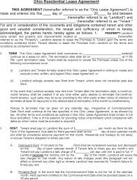 Residential Lease Contract Free Ohio Residential Lease Agreement Template Pdf 252kb