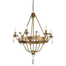 windsor 6 light meval style chandelier in rich gold patina