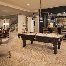 basement bar ideas. Inspiration For A Transitional Look-out Brick Floor And Beige Basement Remodel In Minneapolis Bar Ideas