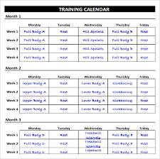 Fitness Plan Chart Personal Fitness Plan Template Plans Business Goals