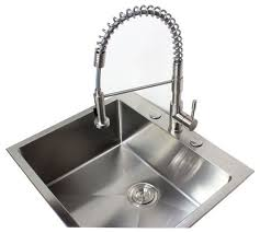fabulous 3 hole kitchen faucet with pull out sprayer ariel coil spring stainless steel made lead