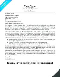 Accounting Job Cover Letter Interesting Sample Cover Letter For Entry Level Accounting Job Letternewco