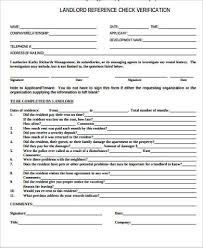 Reference Verification Form Landlord Verification Sample Forms 8 Free Documents In Word Pdf