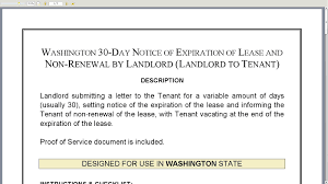 washington day notice of expiration of lease and non renewal by washington 30 day notice of expiration of lease and non renewal by landlord landlord to tenant