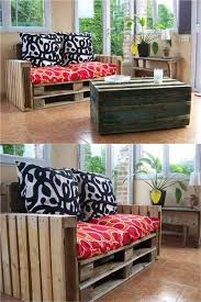 simple diy pallet sofa with stacked pallets