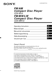 sony cdxm10 marine cd receiver slot manuals manuals and user guides for sony cdxm10 marine cd receiver slot we have 3 sony cdxm10 marine cd receiver slot manuals available for pdf