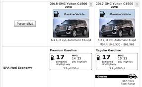 2018 gmc 6 2.  gmc 2018 gmc yukon 62l v8 chevy tahoe 10speed new transmission epa mpg on 6 2
