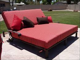 Furniture Cream Striped Double Outdoor Chaise Lounge With Two