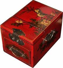 red flower painted jewellery box stand
