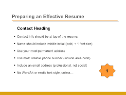 Contact Heading  Contact Info should be at top of the resume.