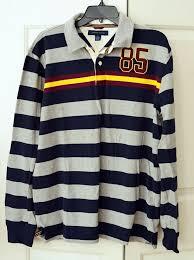 details about vintage 90s tommy hilfiger men s l color block rugby shirt l s 85