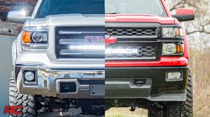 2014 Gmc Sierra 1500 Light Bar 2014 2018 Gm 1500 Hidden 30 Inch Curved Cree Led Light Bar Grille Mount Kits By Rough Country