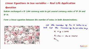 ideas of linear equations in two variables forming linear equations bunch also algebra word problems